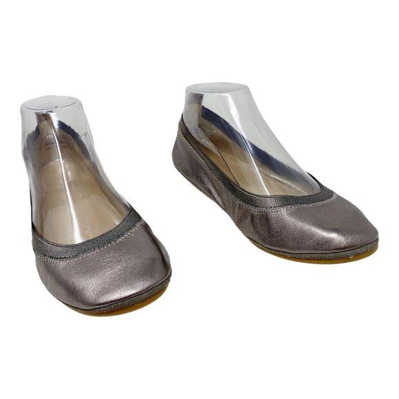 Yosi Samra Samara Silver Metallic Leather Flats